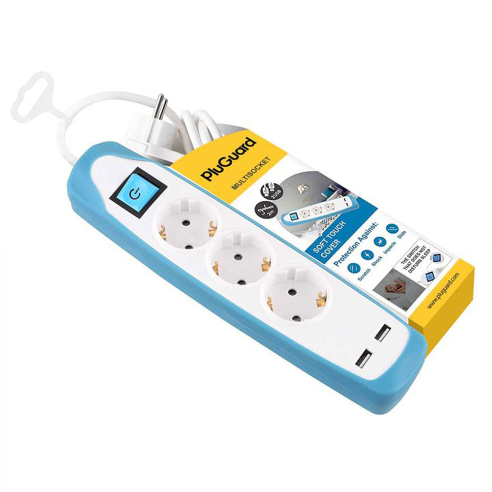 مشترك كهرباء 3 مخرج - 2 USB- جراب سيليكون